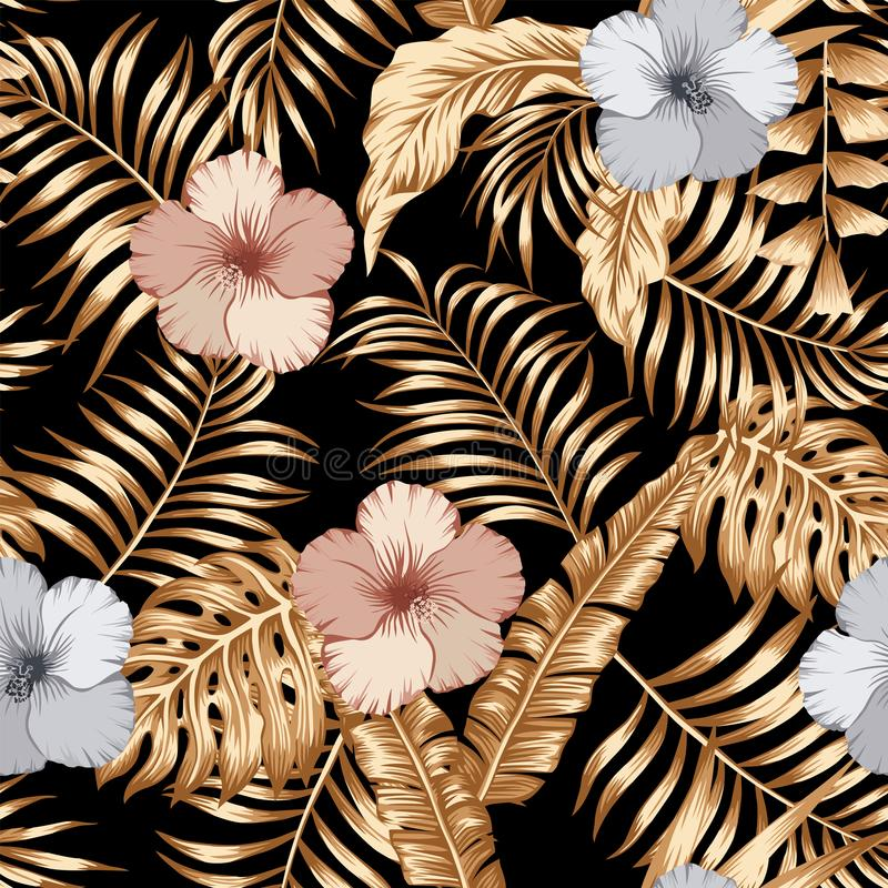 Free Gold Tropical Leaves And Bronze Silver Hibiscus Seamless Black Background Royalty Free Stock Photos - 138413188