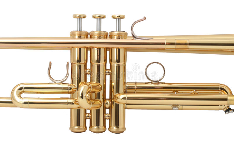 Gold trumpet royalty free stock photography