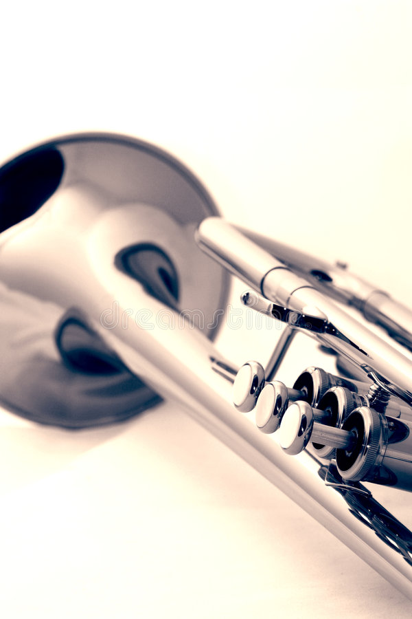 Gold trumpet royalty free stock image
