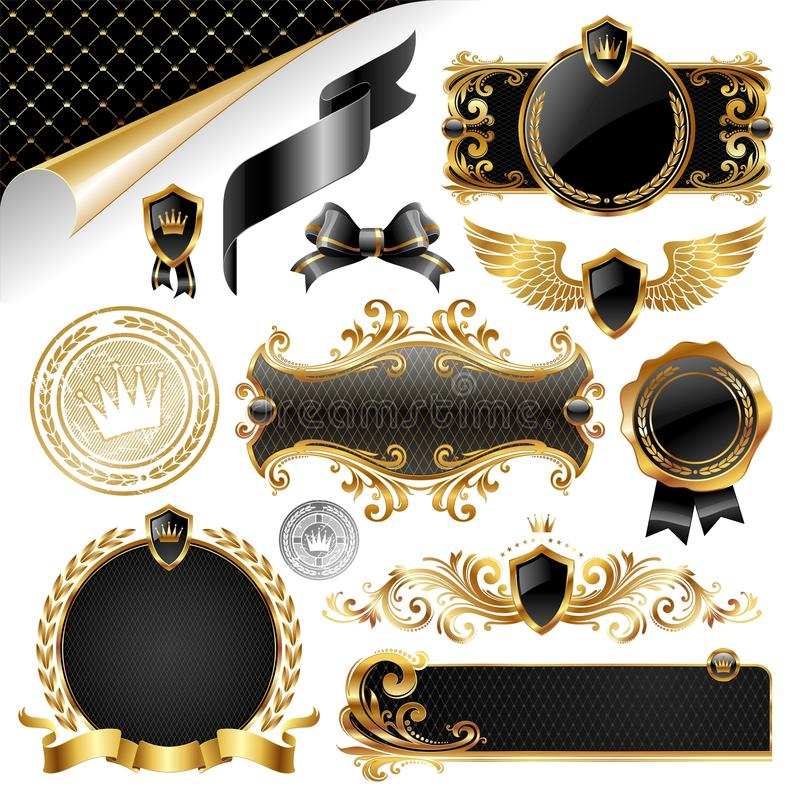 Gold u. schwarze Ansammlung Auslegungelemente lizenzfreie abbildung