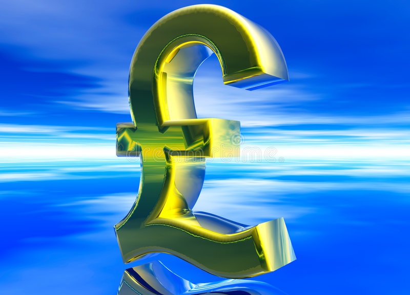 Gold UK GBP Pound Sterling Currency Symbol Stock Photography