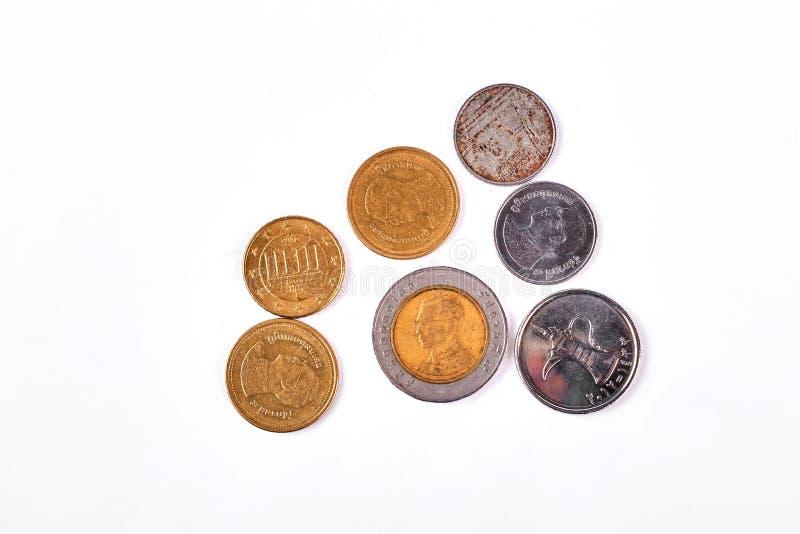 Gold- und des Silbersalte Münzen stockfotografie