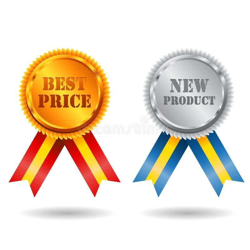 Gold- und des Silbersbestes Preisschild mit Farbband lizenzfreie abbildung