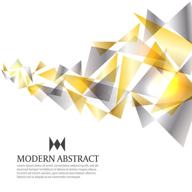 Gold- und des Silbersentwerfen moderner Dreieckkunstzusammenfassungs-Hintergrundvektor lizenzfreie abbildung