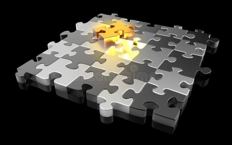 Gold- und des SilbersPuzzlestücke lizenzfreie abbildung