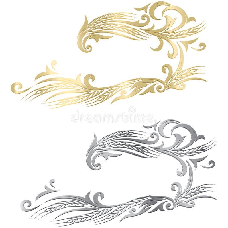 Gold- und des Silbersreifer Weizenährerahmen, Grenze oder Winkelelement lizenzfreie abbildung