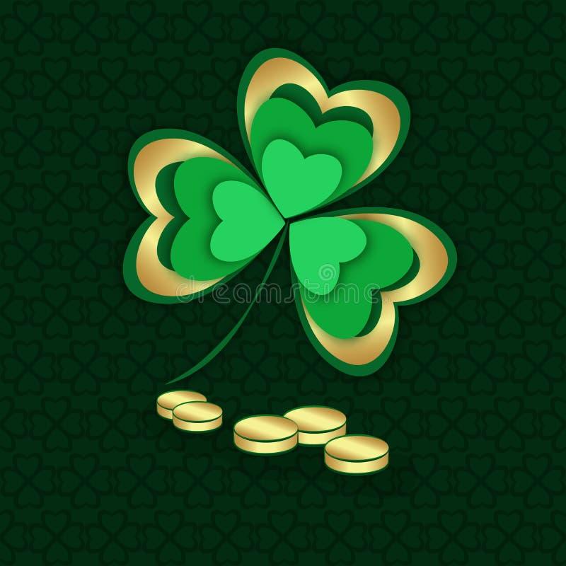 Gold und grüner Shamrock und Münzen St Patrick ` s Tag stock abbildung