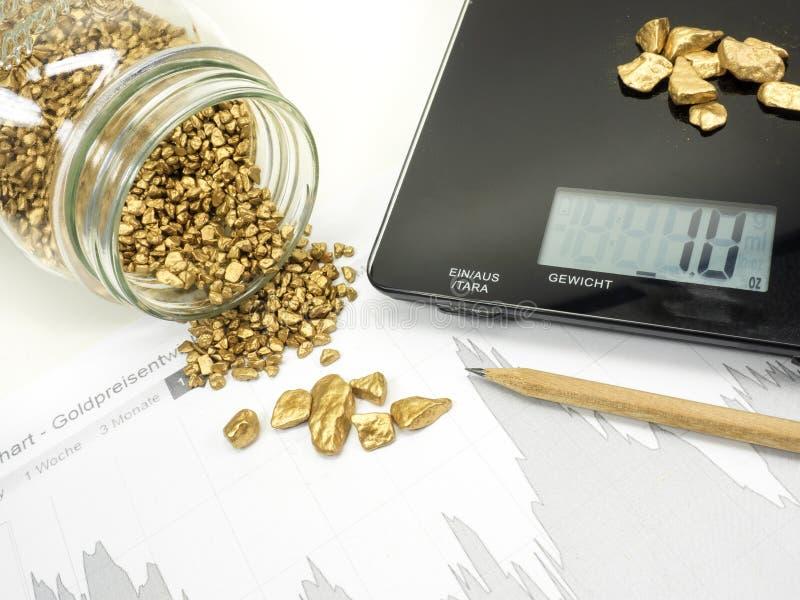 Gold und Markt analysieren lizenzfreie stockfotografie