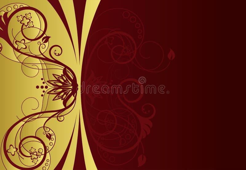 Gold und rote Blumenrandauslegung lizenzfreie abbildung