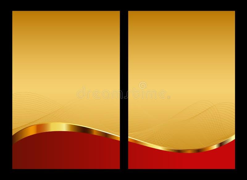 Gold und roter abstrakter Hintergrund, Frontseite und Rückseite stock abbildung