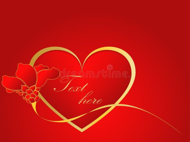 Gold und rotes Liebesherz mit stiegen lizenzfreie abbildung