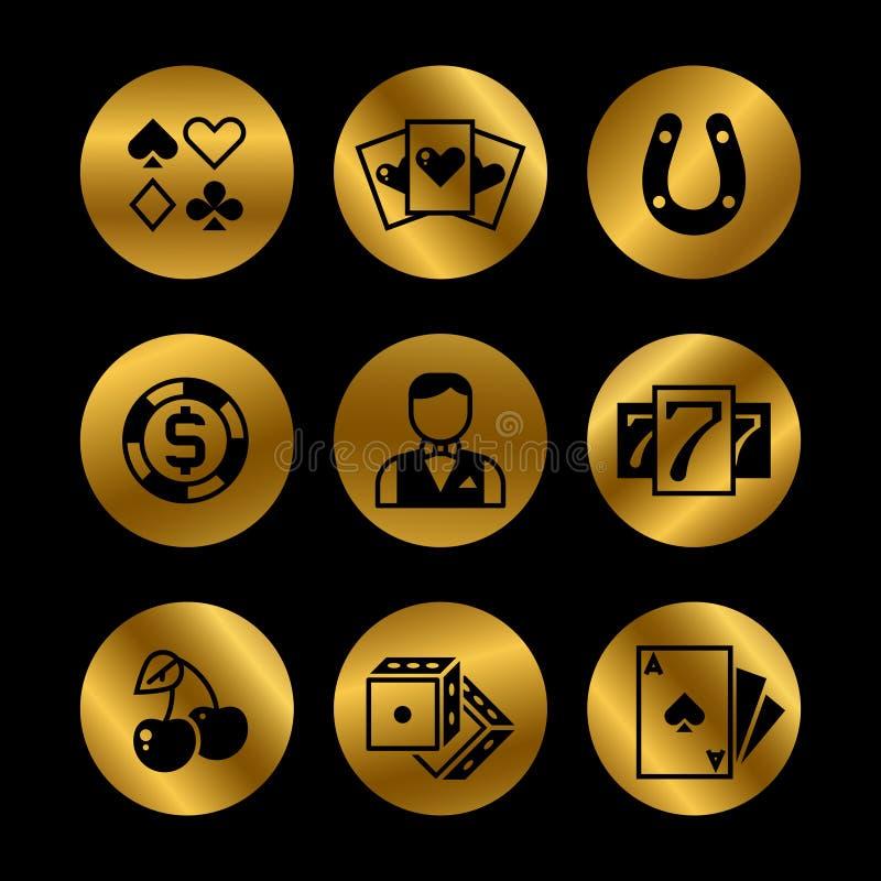 Gold und schwarze Lotterie, Roulette, Kasino, Spielautomat, spielende Vektorikonen lizenzfreie abbildung