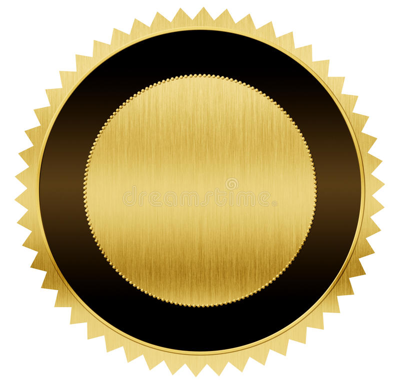 Gold und schwarze Medaille mit Beschneidungspfad lizenzfreie abbildung