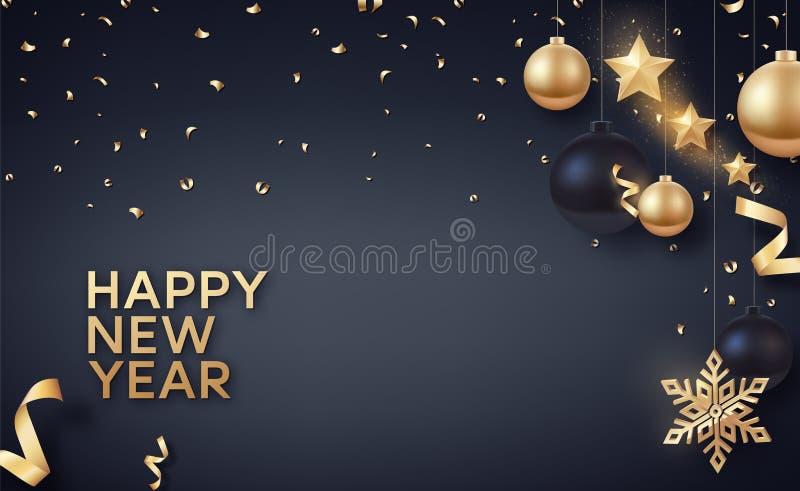 Gold und schwarze Weihnachtsbälle mit Goldsternen und großer goldener Schneeflocke lizenzfreie abbildung