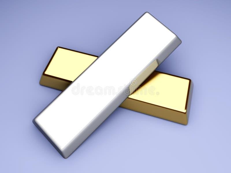 Gold und Silber stock abbildung
