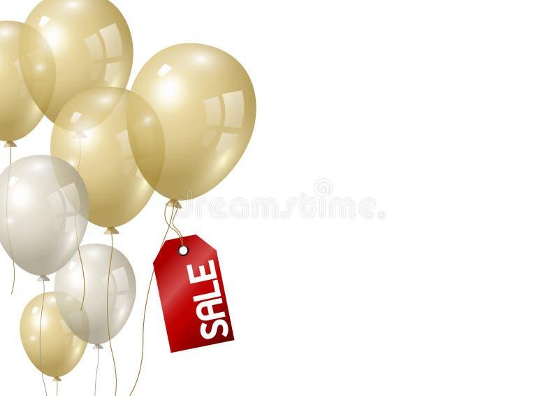 Gold- und Silberballone auf weißer Hintergrundvektorillustration lizenzfreie abbildung