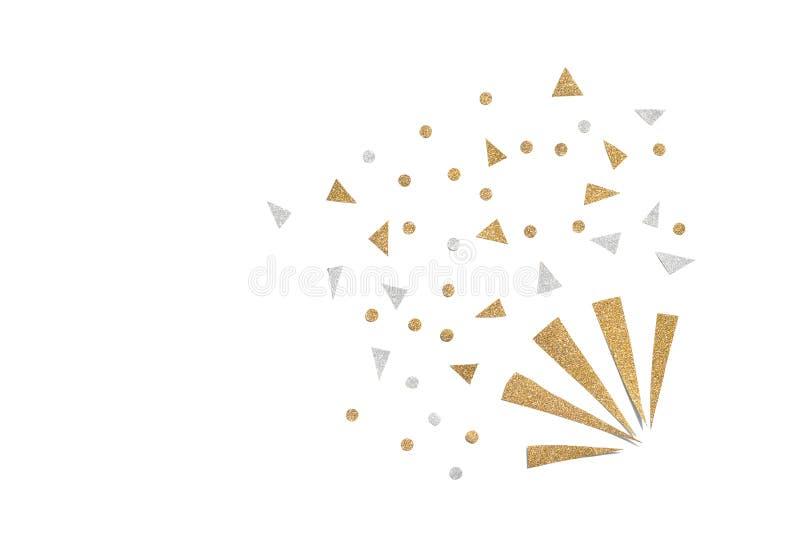 Gold- und Silberfunkelnparteipopkornmaschine-Papierschnitt stockfotos