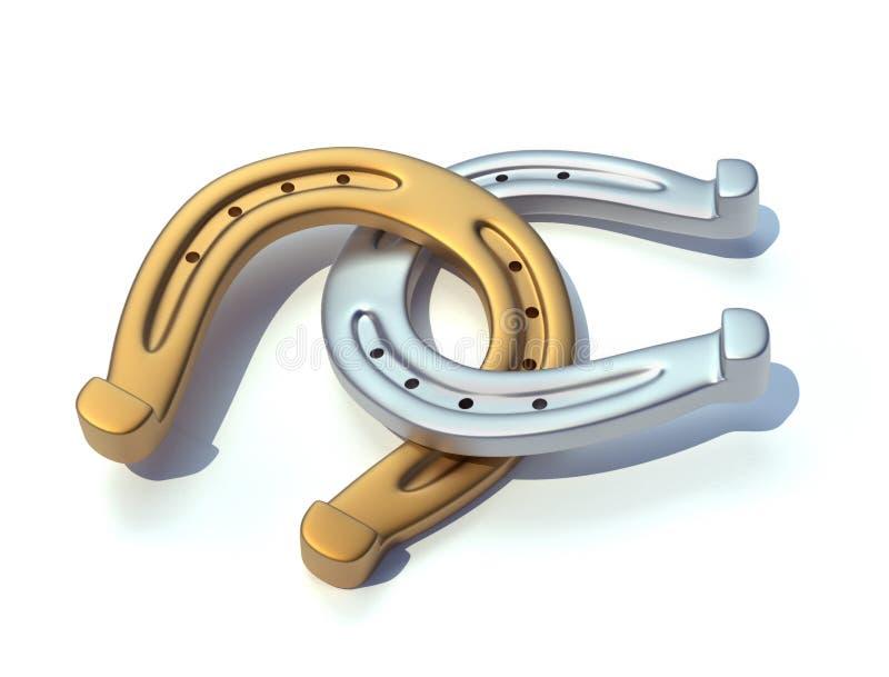 Gold- und Silberhufeisen stock abbildung
