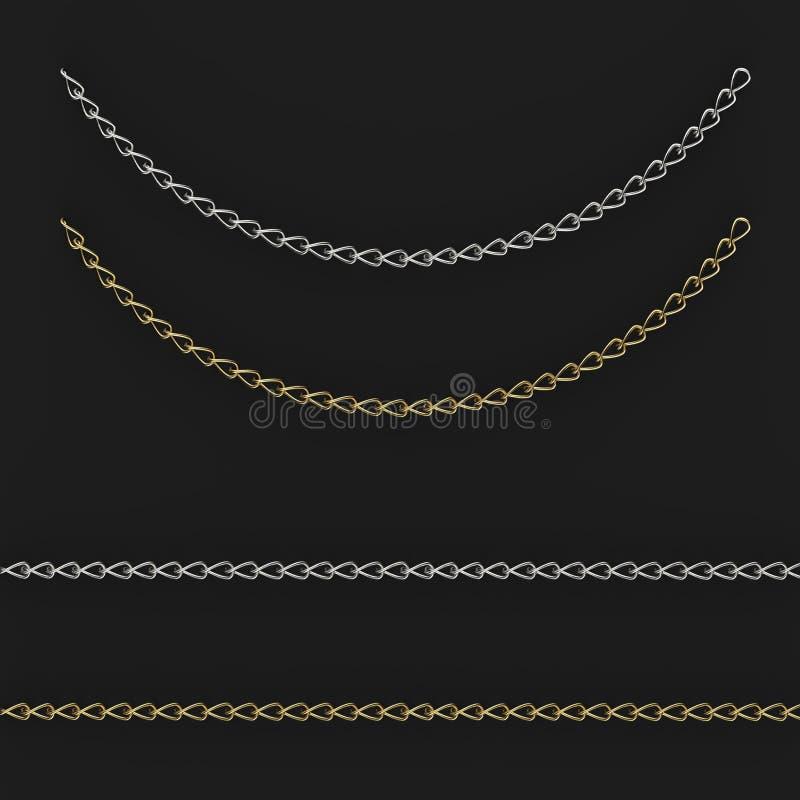 Gold und Silberketten auf einem schwarzen Hintergrund, 3d lizenzfreie abbildung