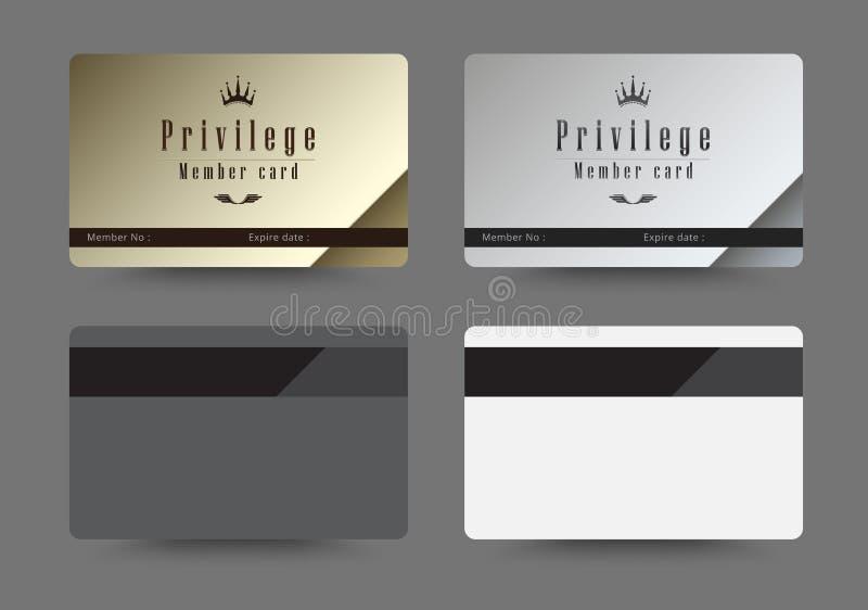 Gold- und Silberprivilegkarte für Mitgliedsschablone entwerfen Vecto stock abbildung