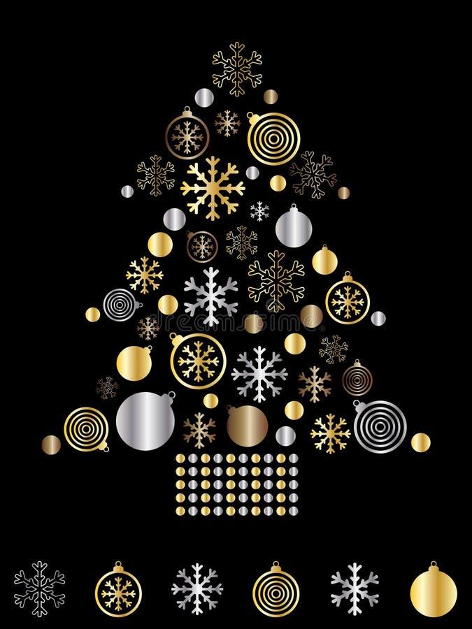 Gold- und SilberWeihnachtsbaum vektor abbildung
