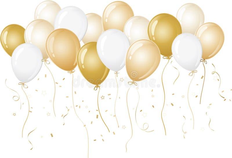 Gold und weiße Ballone vektor abbildung