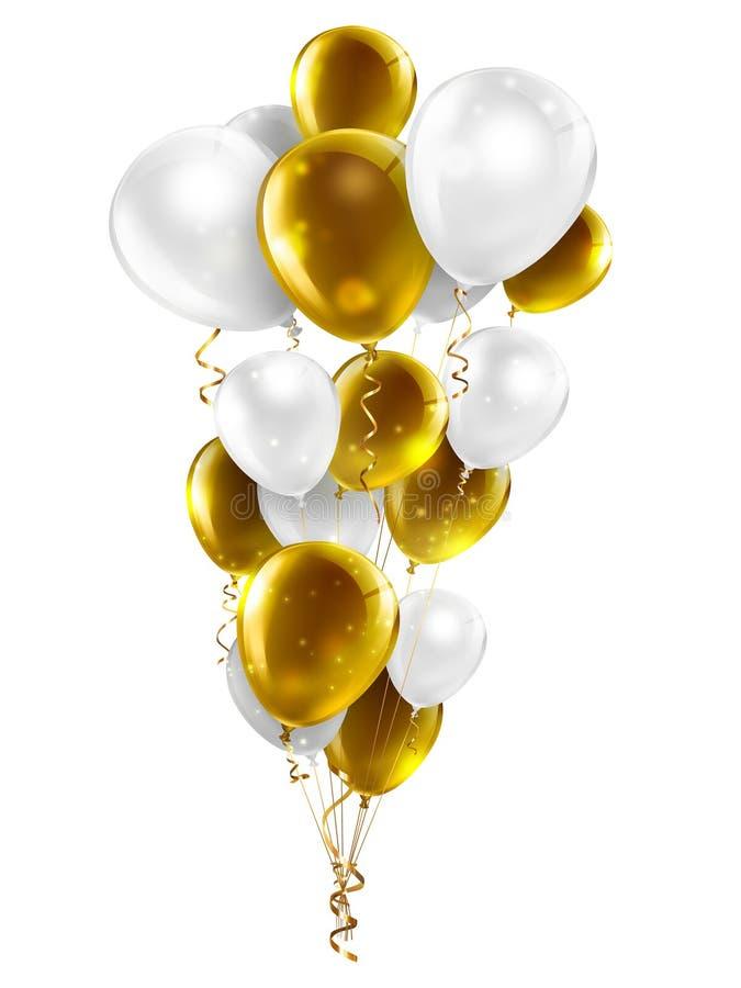 Gold und weiße Ballone stock abbildung