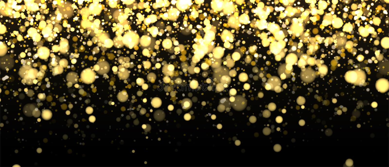 Gold unscharfe Fahne auf schwarzem Hintergrund Funkelnder fallender Konfettihintergrund Goldene Schimmerbeschaffenheit für Luxuse lizenzfreie abbildung