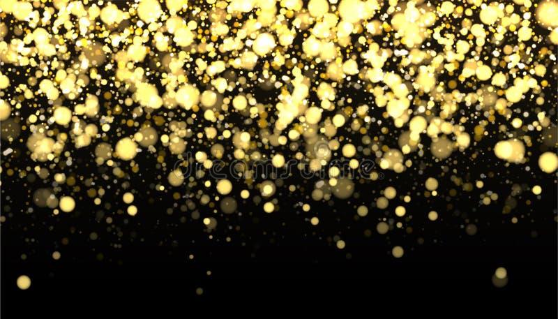 Gold unscharfe Grenze auf schwarzem Hintergrund Funkelnder fallender Konfettihintergrund Goldene Schimmerbeschaffenheit für Luxus lizenzfreie abbildung