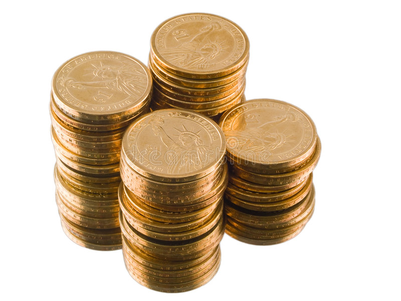 Download Gold US Dollar Coins Isolated Stock Image - Image: 8624711