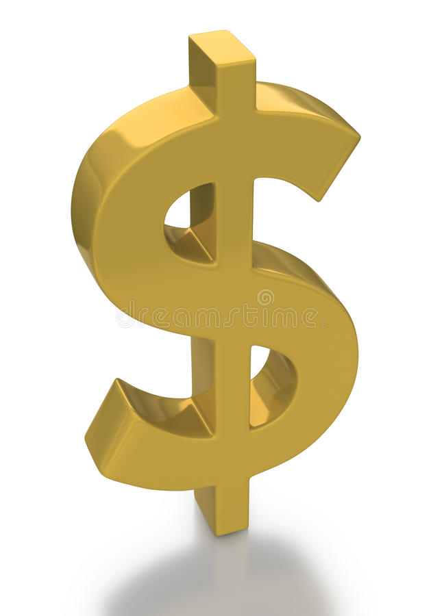 Gold US dollar currency icon stock image