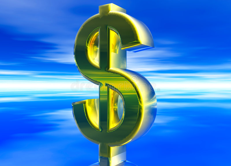 Gold USD Dollar Currency Symbol. On Blue Background stock illustration