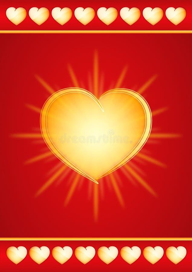 Gold valentine heart stock illustration