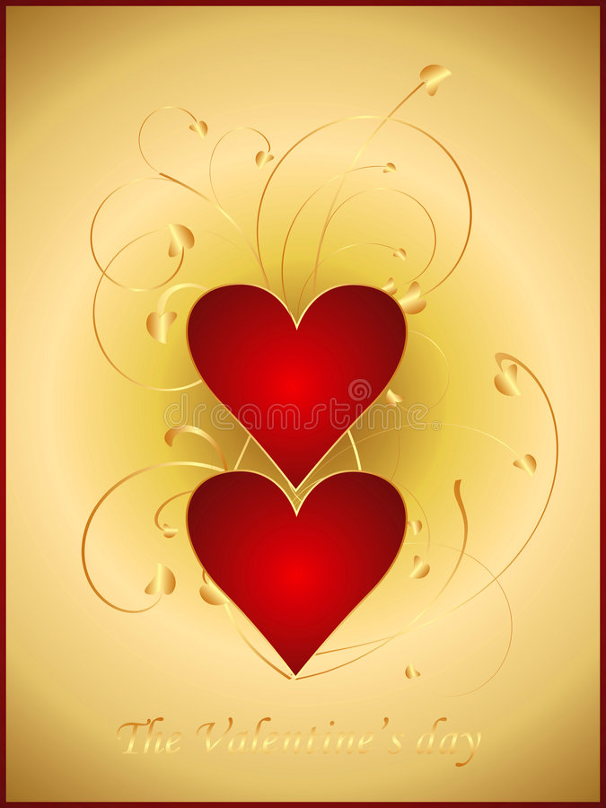 Gold Valentine postcard 1 vector illustration