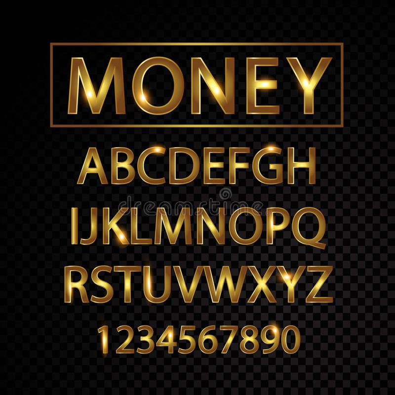 Free Gold Vector Alphabet Letters And Numbers Isolated On Black Background Royalty Free Stock Photo - 118291355
