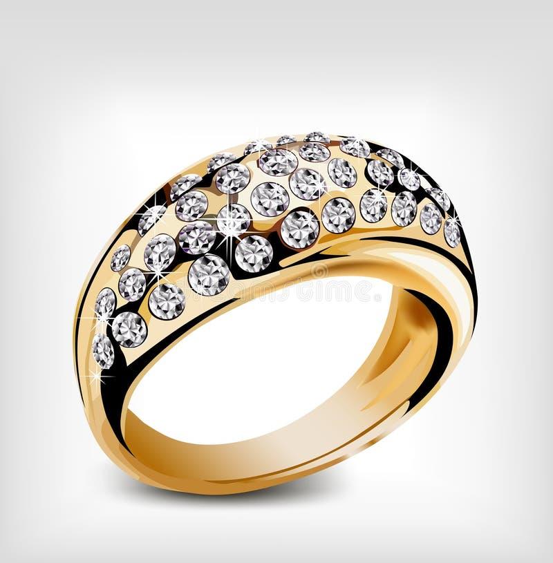 Gold vector diamond ring stock vector. Illustration of love - 36293149