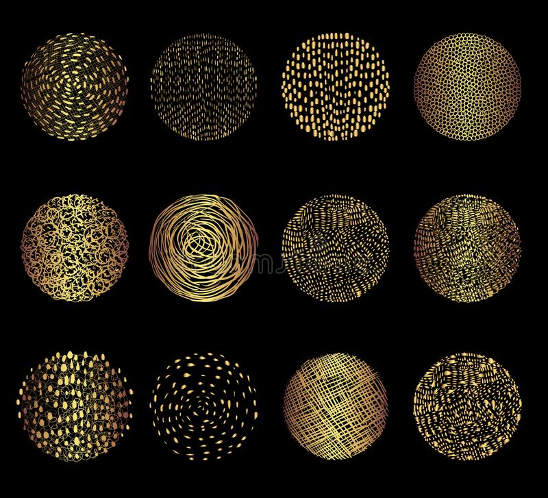 Gold vector doodle circle textures vector illustration