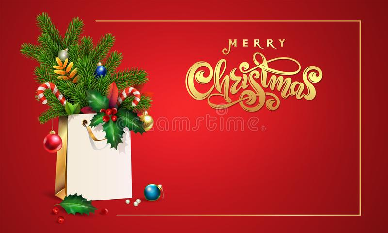 Gold Vector hand drawn lettering text Merry Christmas. 3d Shopping bag, spruce, fir branches, xmas toys, colorful balls, holly. Berries, leaves, sweets, empty stock images