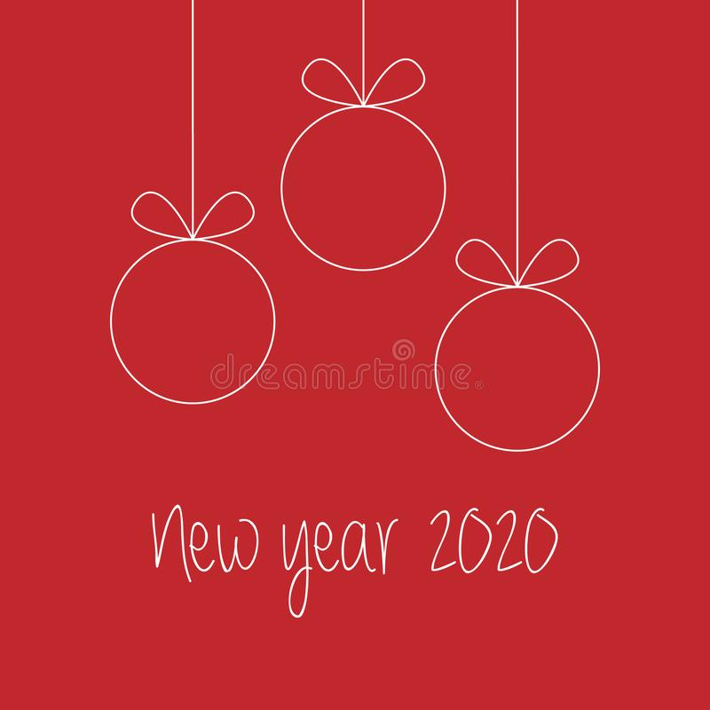 2020 vector Happy New Year and greeting card simple line on red royalty free illustration