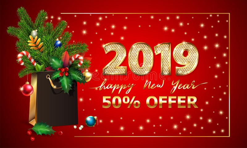 Gold Vector text Happy New Year, 3d golden digits 2019, advertising sale offer. 3d xmas Shopping bag, spruce fir branche stock illustration