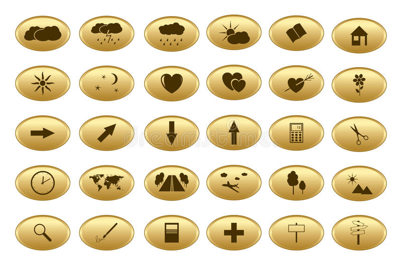 Download Gold Vector Web Buttons - Set Stock Vector - Image: 24839583