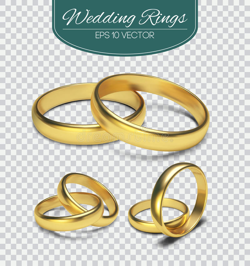 Gold vector wedding rings on trasparent background. Vector illustration. Marriage invitation elements. royalty free illustration