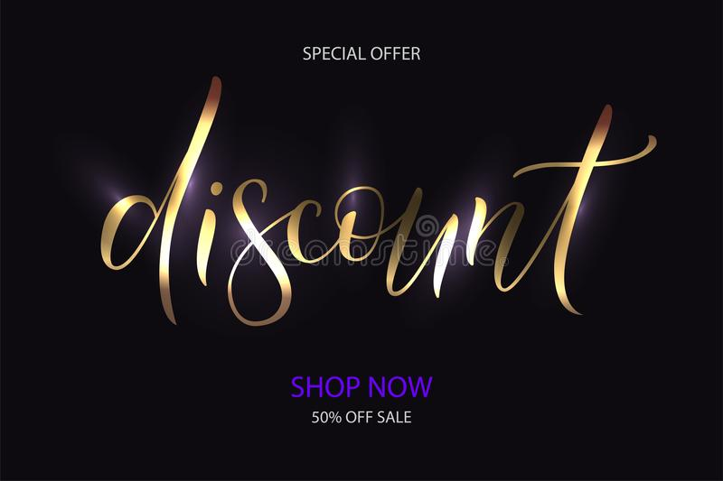 Gold vector word discount for shop. Vector illustration EPS 10 of calligraphy, logotype, text as banner, quotation, detail, concept of internet clothes shop page stock illustration