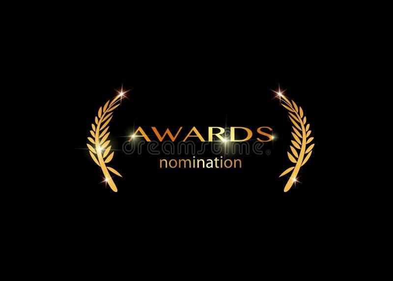 Gold-vektorn är bäst tilldelad nomineringskonceptmall med gyllene, blanka och isolerad eller svart bakgrund Ikon för pris stock illustrationer