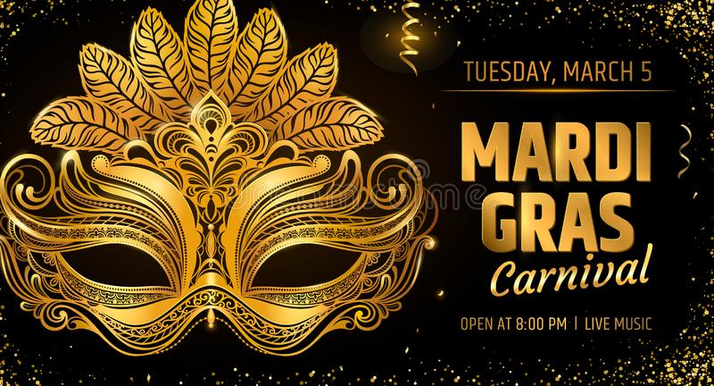 Gold venetian mask. Carnival Party invitation card template. Spring holidays. Vector illustration EPS10.  royalty free illustration