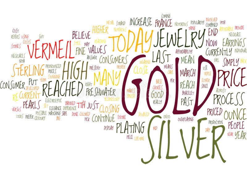 Gold Versus Silver Jewelry Word Cloud Concept vector illustration