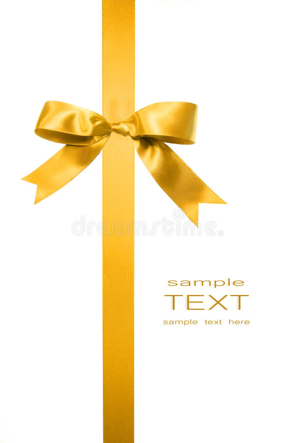 Free Gold Vertical Gift Bow On White Royalty Free Stock Images - 6789589