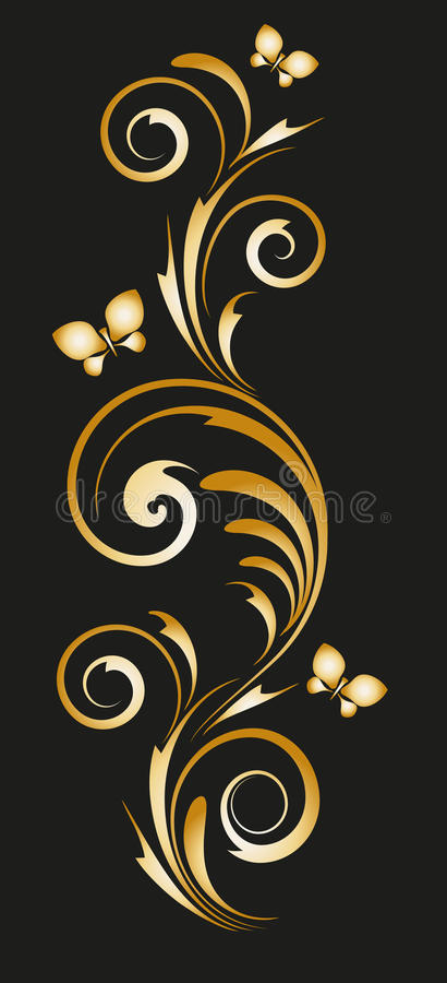 Gold vignette with abstract floral ornament vector illustration