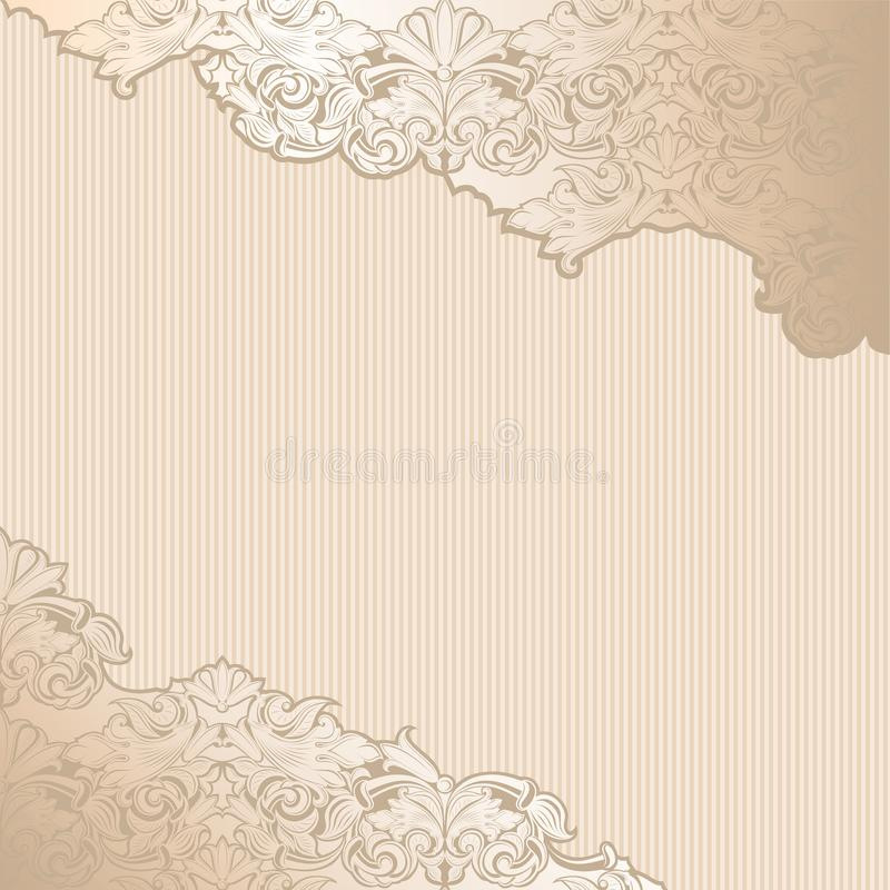 Gold vintage background, royal with classic Baroque patter. Gold vintage background , royal with classic Baroque pattern, Rococo with darkened edges stock illustration