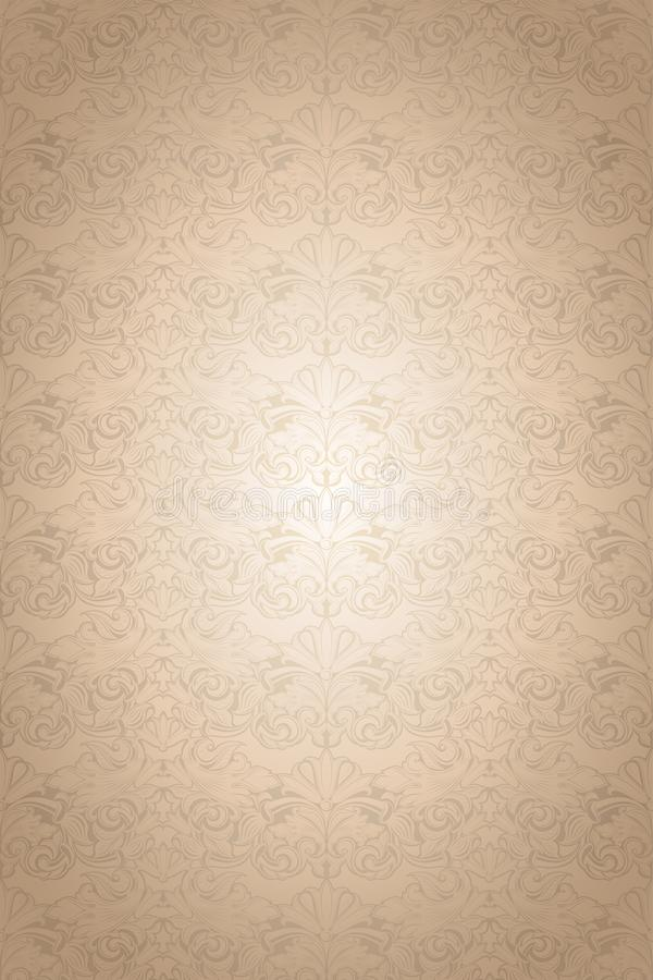 Gold vintage background, royal with classic Baroque pattern. Gold vintage background , royal with classic Baroque pattern, Rococo with darkened edges background royalty free illustration